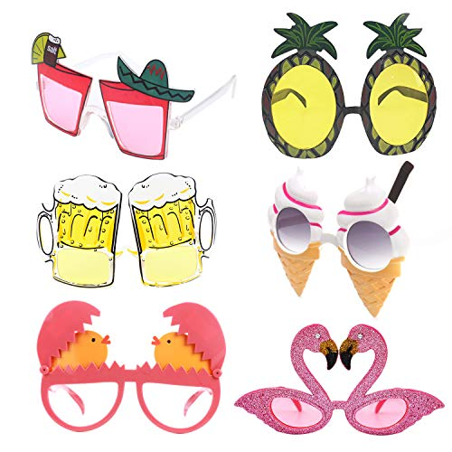 alesTOY Novelty Party Sunglasses, 6 Pairs Creative Funny Glasses, Luau Tropical Party, Fancy Dress Party Supply, Perfect Hawaiian Themed Eyeglasses for Kids & Adults -