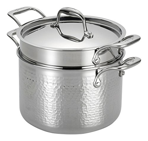Lagostina Q5534864 Martellata Tri-ply Hammered Stainless Steel Dishwasher Safe Oven Safe Pasta Pot with Lid and Pasta Insert Cookware, 6-Quart, Silver