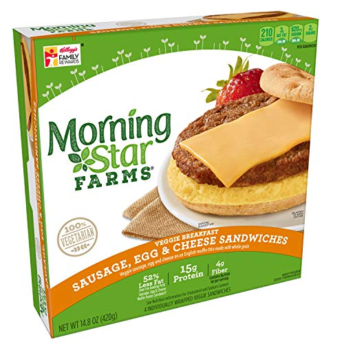Morningstar Farms, Veggie Breakfast, Sausage, Egg and Cheese Muffin Sandwich, Vegetarian, 14.8 oz (4 Count)
