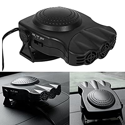 12V Car Heater Fan,150W Portable Car Auto Vehicle Electronic Heater or Fan 2 In 1 Heating Cooling Function Windshield Demister Defroster (Black)
