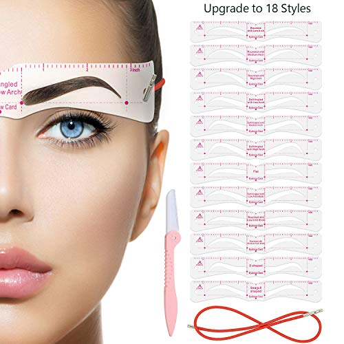 Eyebrow Stencil,Eyebrow Shaper Kit,18 Styles Extremely Elaborate Reusable Eyebrow Template Stencils for A Range Of Face Shapes, 3 Minutes Makeup Tools For Eyebrows
