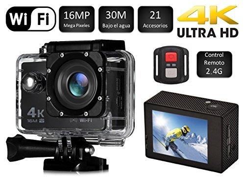 Cámara SJ Pro 4K WiFi · Deportiva Y Acuática 60FPS HD 16MP · Pantalla LCD HD 2' - Negra