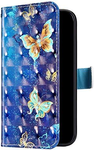 Uposao Kompatibel mit Samsung Galaxy S20 Ultra Handyhülle Bunt Bling Glitzer Glänzend 3D Muster Tasche Schutzhülle Brieftasche Leder Hülle Klapphülle Flip Case Kartenfächer Magnet,Schmetterling