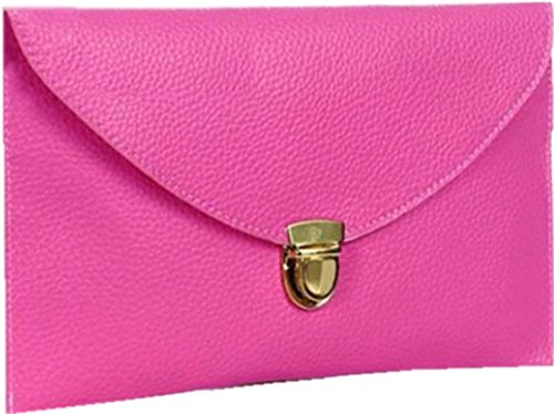 Ardisle Ladies Large Leather Style Envelope Evening Clutch Bag Women Wedding Purse Chain Rose Red