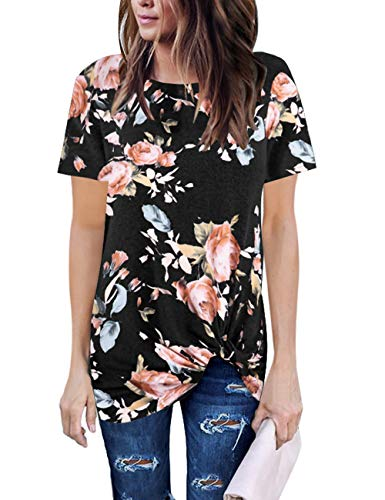Lookbook Store Women's Casual Summer Short Sleeves Loose Shirts Black Floral Twist Knot Blouse Tops Tee Size XXL US 20 22 Summer Tops for Women 2019