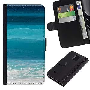 All Phone Most Case / Oferta Especial Cáscara Funda de cuero Monedero Cubierta de proteccion Caso / Wallet Case for Samsung Galaxy Note 4 IV // Blue Waves Surf Summer Sun