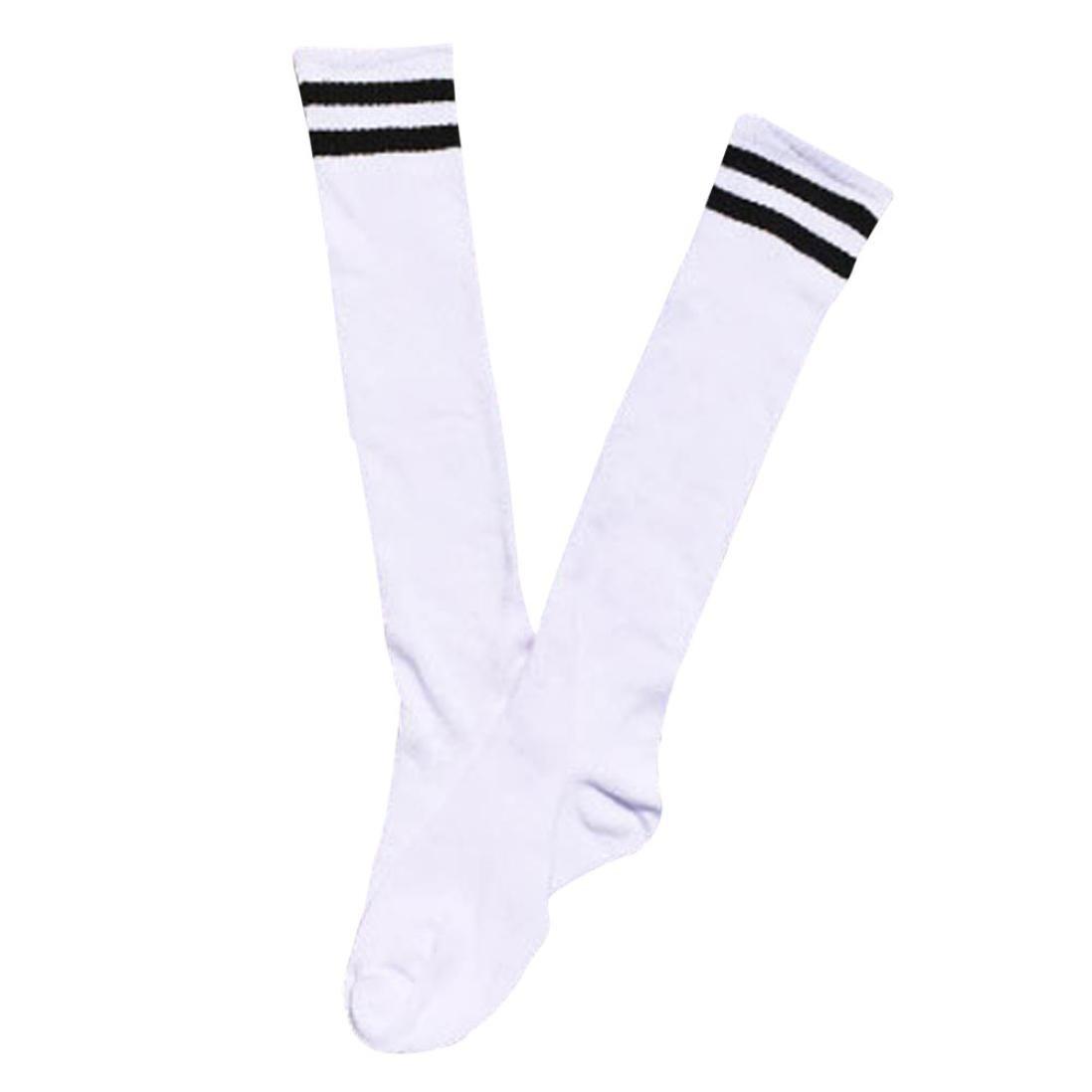 Sport Long Socks,Teens Soccer Breathable Elastic Over Knee High Sock Baseball Hockey (White)