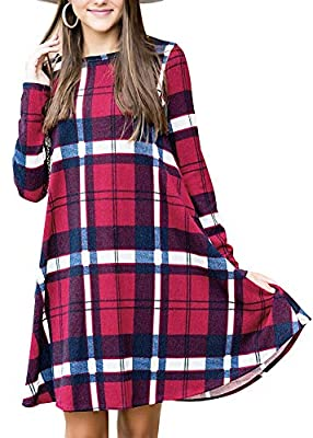 Intimate Boutique Women's Plaid Printed Flowy Dress with Side Pockets