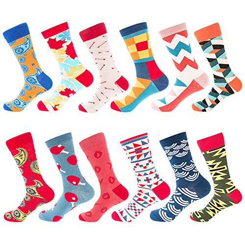 Bonangel Men's Fun Dress Socks - Colorful Funny Novelty Crazy Crew Socks Pack ()