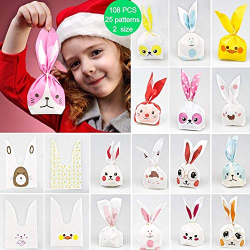 DEKERO Kids Party Bags,108pcs 2 Size 25 Types of Patterns for Kids Birthday Christmas Goodies Cute Rabbit plasticbags USE for Gift,Candies,Small Toys,Chocolates,Ornament,Hairpin,Food,Cookie,Dessert ()