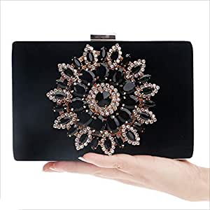 DIEBELLAU Women's Chinese Style Evening Bag Luxury Banquet Diamond Clutch Clutch Exquisite Lady Evening Bag (Color : Black, Size : XS)