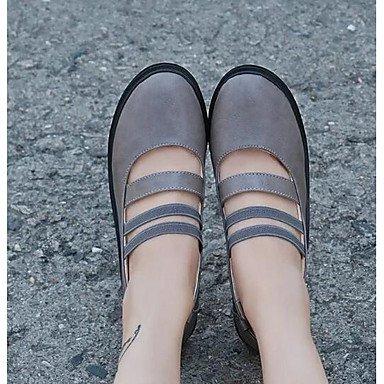 Frauen 039 s Sandalen Komfort PU Feder Casual Comfort Grau Schwarz 1 in 1 3 4 inGrayUS 8 EU 39 UK 6 CN 39