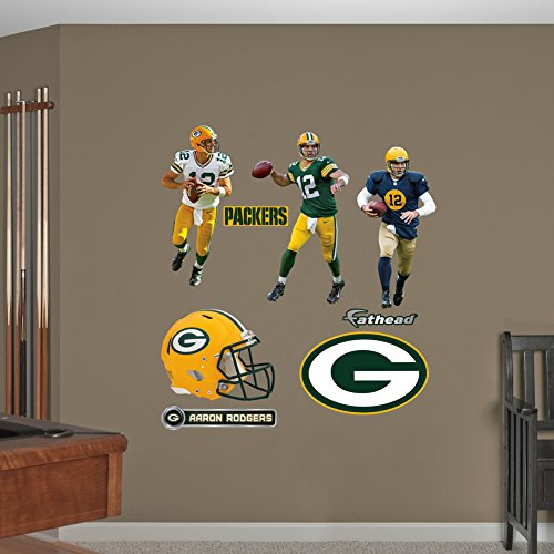 NFL Green Bay Packers Aaron Rodgers Hero Pack Real Big Wall Decals - Fathead Green Bay Packers Helmet
