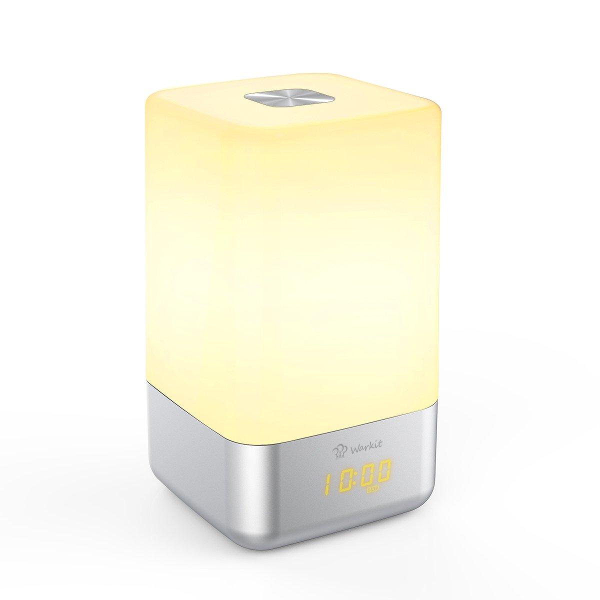 Warkit L Despertador del Despertador de Luz LED Portátil Recargable con Sonidos