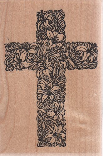 Easter Cross Wood Mounted Rubber Stamp (F4178)