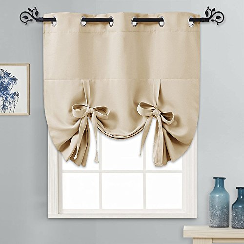 Shade Valance Drape - PONY DANCE Window Valance for Kitchen - Tie Up Blackout Shade Grommet Door Curtain Drapery Small for Home Decoration Adjustable Balloon Valance, Set of 1, W 46 x L 63 in, Biscotti Beige