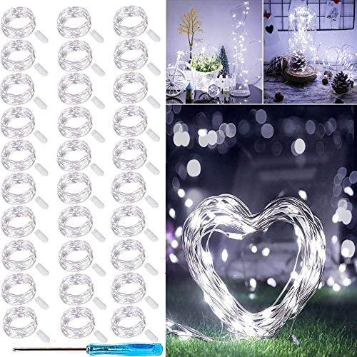 LED Fairy String Lights, 30 Pack 20 LED Silver Wire Battery Operated Lights Waterproof Led Micro Twinkle Star Lights Starry Bottle Lights for Bedroom Garden Party Xmas Decorations Cool White