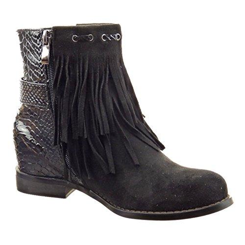 Sopily - Chaussure Mode Bottine Cavalier Montante femmes frange Peau de serpent Talon bloc 2.5 CM - Noir