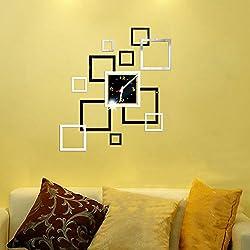 Peize HOT!!! Removable Diy Acrylic 3D Mirror Wall Sticker Decorative Clock (Black)