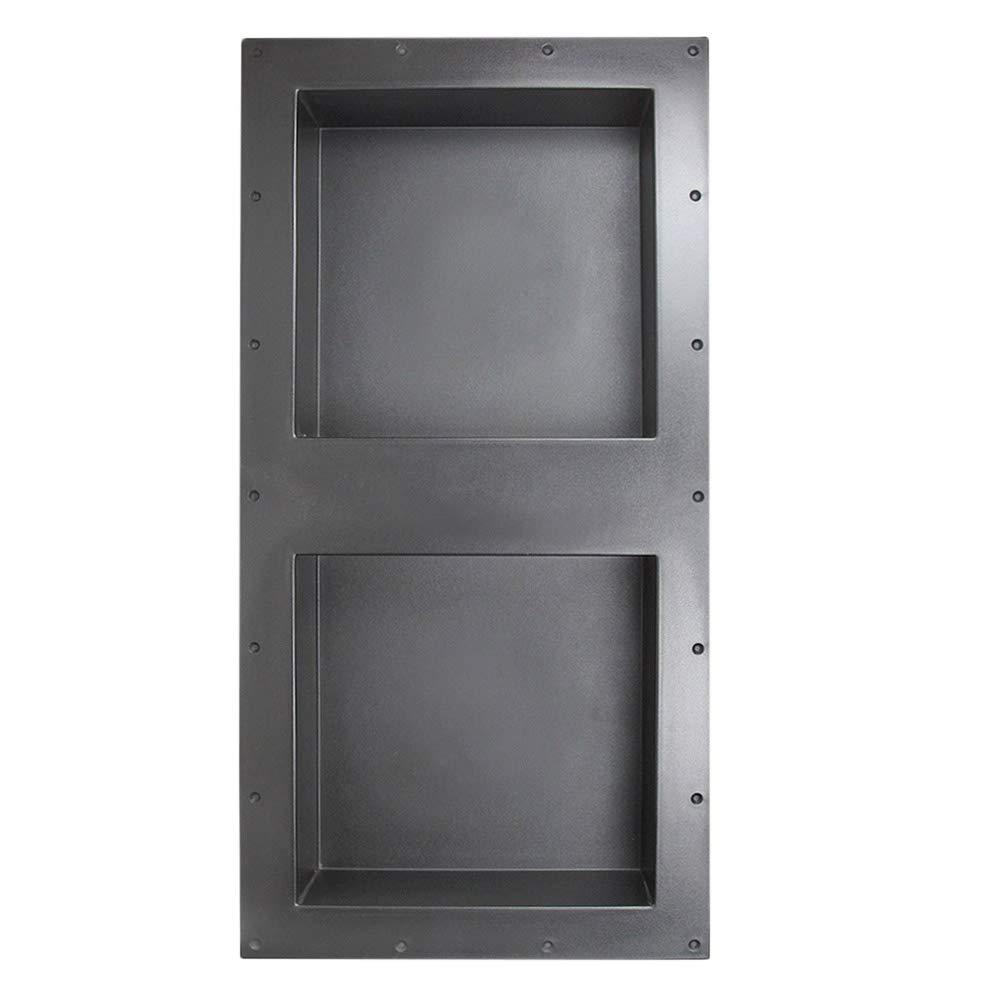 Suteck 32'' x 16'' Double Shelf Shower Cube Ready for Tile Waterproof Leak-Proof Bathroom Indoor Recessed Niche Storage Washing Toiletries Bottles, Black by Suteck