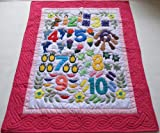 Hawaiian Style Quilt Numbers Comforter Baby Crib Blanket Wall Hanging, Hand Quilted and Machine Embroidered