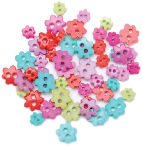 C.R. Gibson, Funky Flowers Blumenthal Lansing Favorite Findings Mini Shaped Buttons, 49/Pkg