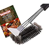 """Flier Grill Brush and Scraper – Bristle Free BBQ Grill Cleaner – 18"""" Stainless Steel Woven Wire 3 in 1 Bristles Grill Cleaning Brush for Gas/Charcoal Grill – Great Grilling Accessories Gift"""