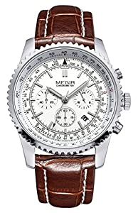 Voeons Mens Watches Chronograph 24 Hour Military Sports Watches 3ATM Waterproof Silver Stainless Steel Wristwatch