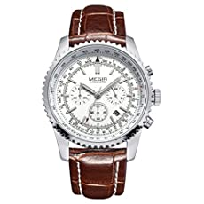 Voeons Mens Watches Chronograph 24 Hour Military Sports Watches 3ATM Waterproof Silver Metal Case Brown Leather Band Wrist Watch Auto Date