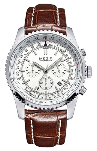 Voeons Mens Watches Chronograph 24 Hour Military Sports Watches 3ATM Waterproof Silver Stainless Steel Wristwatch (Chronograph Mens Watch)