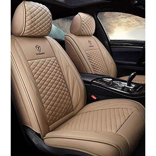 Leather Car Seat Cover, Leather Four Seasons Seat Cover, Five Front Seats And Rear Seats, Luxurious Headrest And Lumbar Cushions, Beige: Amazon.co.uk: Kitchen & Home