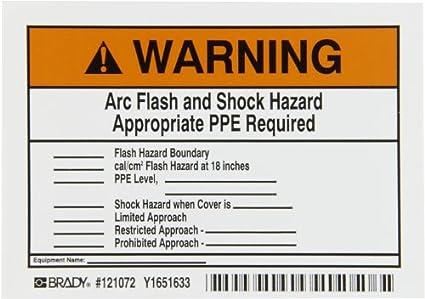 Amazon com: Brady EL-5 Vinyl Arc Flash Warning Labels