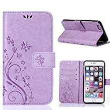 Iphone6/iphone6s 4.7inch Elegant Wallet Case, Apple iphone6s Beautiful Case, Flower Butterfly Pattern Premium PU Leather Wallet Case with Wrist Strap Flip Case Cover (light purple)