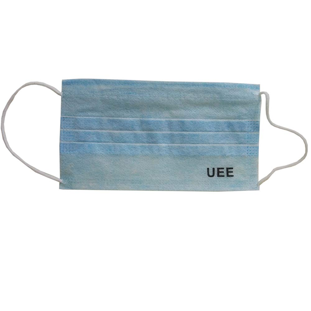 UEE Disposable Face Masks Breathable Dust Filter Masks Mouth Cover Masks with Elastic Ear Loop Blue