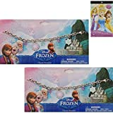 Disney Frozen Anna and Elsa Charm Bracelet For Girls (2 Pack) Plus Disney Princess Stickers