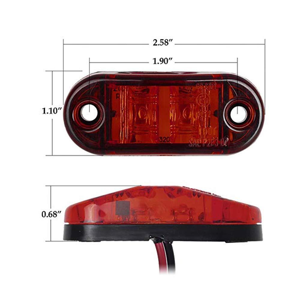 1 Paire Camion remorque Montage en Surface LED Ovale Marqueur Lampe /étanche Ovale c/ôt/é marqueur de lumi/ère pour Bateaux Marine 9-30V 2LED Regard