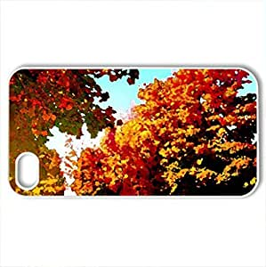 autumn-trees - Case Cover for iPhone 4 and 4s (Forces of Nature Series, Watercolor style, White)