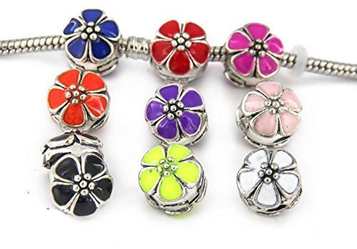Yeshan 9pcs Antique Silver Clip Lock Stopper Bead Charms Fit All Bracelet As Spacer Clasp with 9pcs Silicon Rubber Stopper O-Rings