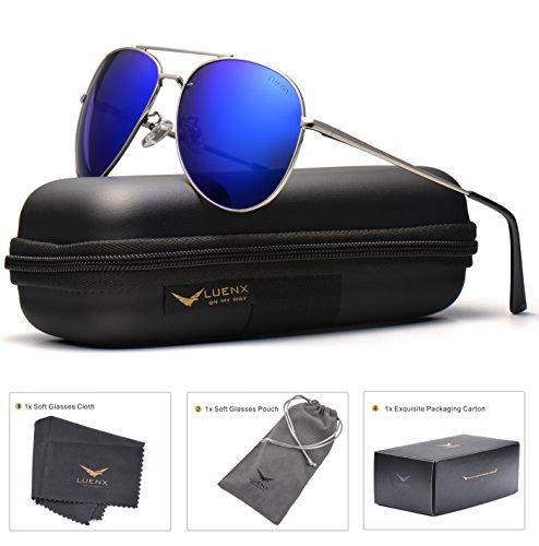 LUENX Sunglasses Aviator Polarized for Men & Women with Case - 400 UV Dark Blue Lens Metal Gloss Silver Frame Colored 60mm