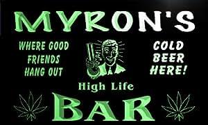 tp384-g Myron's Marijuana High Life Bar Beer Man Cave Neon Light Sign