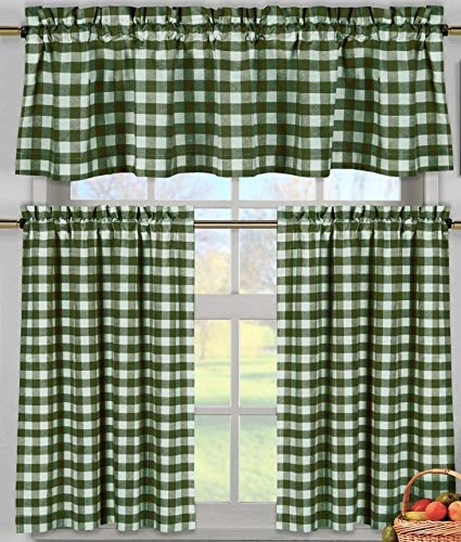 lovemyfabric Poly Cotton Gingham Checkered Plaid Design 3-Piece Kitchen Curtain Valance Window Treatment Set (Hunter Green)