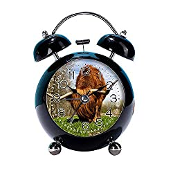 GIRLSIGHT 4 Twin Bell Alarm Clock with Fun Animal Dial, Backlight, Battery Operated Loud Alarm Clock 075.Brown Yak on Green Grass(Black)