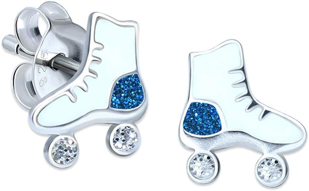 Pendientes de plata de ley con diseño de patines con purpurina, color azul