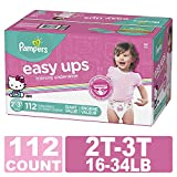Pampers Easy Ups Diapers Size 4 (2T-3T), Pull On Disposable Training Diaper for Girls, GIANT PACK, 112 Count