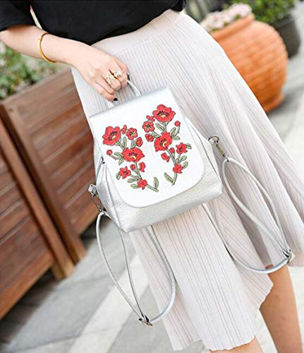 Flowers purpose Embroidery For Shoulder Fashion Backpack White Purse Daypack Casual Bag Multi Women's Ladies agSz7q