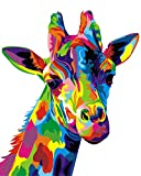 Paint by Numbers for Adults Kids Framed, Komking DIY Paint by Number Kits with Brush Canvas, Colorful Giraffe 16x20inch