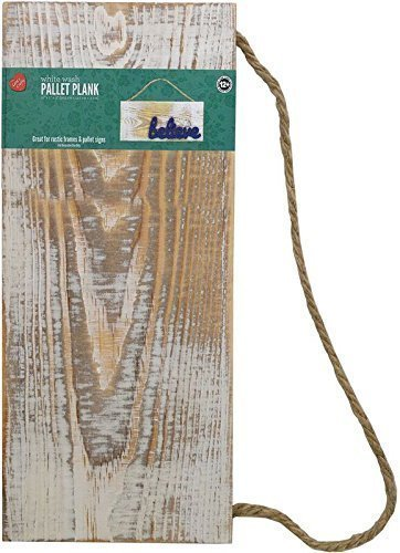 Lara's Crafts White Wash Rustic Plank Sign with Jute Hanger, 12.6