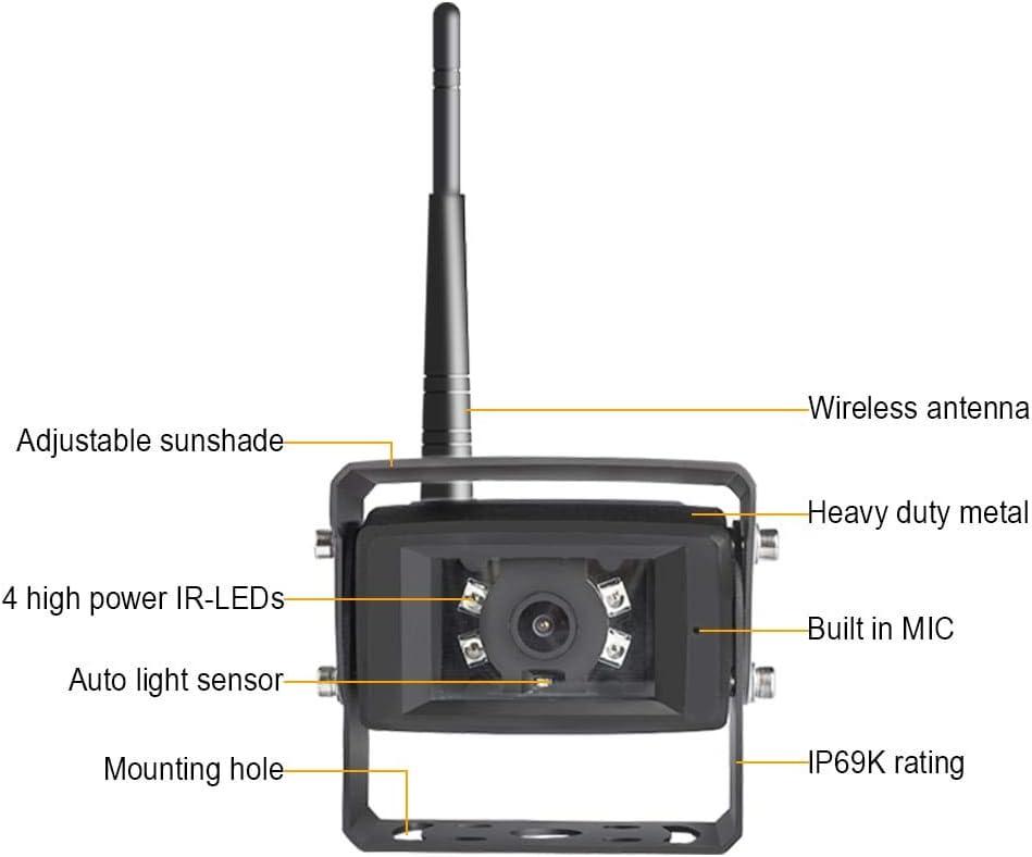 Haloview MC7101 Kit de c/ámara de Seguridad inal/ámbrica con Monitor de visi/ón Trasera y c/ámara Impermeable IP69K para Furgoneta//cami/ón//Coche