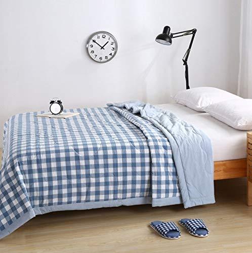 涼しい春と夏のキルト、洗濯機で洗えるチェック柄のコットン夏の涼しいキルト、シンプルなファッションの快適なシングルとダブルのエアコンのキルトの家のギフト (Design : 4, Size : M) B07PYVWLVZ 4 Medium