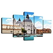 Large Painting on Canvas Grand Canal Venice Italian Wall Art 5 Panel Artwork Tavel City Pictures Modern Contemporary Home Decor for Living Room Print Framed Gallery Wrap Ready to Hang(60''Wx32''H)